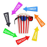 Arrows with Cinema Styles around Bucket Full of Popcorn with 3D Stock Photography
