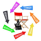Arrows with Cinema Styles around Director Chair, Movie Clapper a. Nd Megaphone on a white background. 3d Rendering Royalty Free Stock Photos