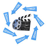 Arrows with Cinema Styles around Film Reel with Cinema Tape near Stock Images