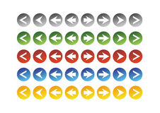 Arrows on circle. Some color variant of simple arrow symbols stock illustration