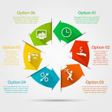 Arrows circle infographic. Abstract arrows circle infographic with icons and text. Can be used for workflow layout, parts, steps or processes, banner, chart, web royalty free illustration