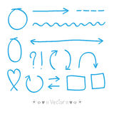 Arrows circles and abstract doodle writing design vector set Stock Images