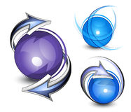 Arrows circling blue balls. Illustrated arrows orbiting or circling three blue balls on a white background.  Resemble abstract recycling symbol Stock Photography
