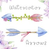 Arrows clip art, drawing flowers watecolor illutration arrow and flowers on white background. Arrows clip art, drawing flowers watecolor illutration arrow and vector illustration