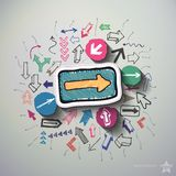 Arrows collage with icons background Royalty Free Stock Image
