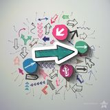 Arrows collage with icons background Stock Images