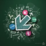 Arrows collage with icons on blackboard. Vector illustration Stock Photography