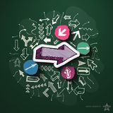 Arrows collage with icons on blackboard. Vector illustration Royalty Free Stock Photography