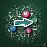 Arrows collage with icons on blackboard. Vector illustration Royalty Free Stock Photo