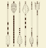 Arrows. Collection of arrow illustrations. Arrows were drawn by hand and have intricate patterns on the shafts, as well as unique feather fletching Stock Photo