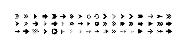 Arrows collection. Big set of Arrows Vector Icons, isolated on white background. Arrow different shapes in modern simple flat