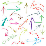 Arrows. Collection of hand drawn doodle style arrows in various directions and styles Stock Images