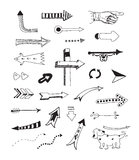 Arrows  collection. Hand drawn  illustration of different doodles arrows for web design. Isolated on white background Royalty Free Stock Photo