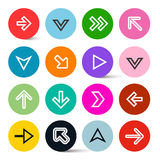 Arrows in Colorful Circles Set Stock Photo