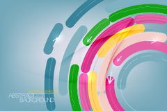 Arrows and colorful circles shape scene. Vector abstract wallpaper background stock illustration