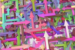 Arrows Colorful Mix. Arrows colored chaotic mix, 3d illustration, horizontal Stock Photography