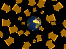 Arrows come from space. Arrows world target tunnel earth Royalty Free Stock Image