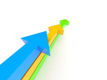 Arrows competition. Rendered image. Three blue, yellow and green arrow on a white ground Stock Photography