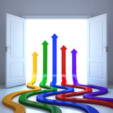 Arrows conceptual in the future. 3d illustration Royalty Free Stock Photo