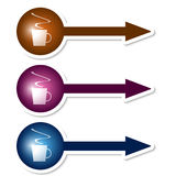 Arrows with cup of coffee Royalty Free Stock Photo