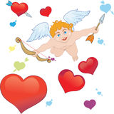 Arrows of Cupid. Valentines Day card Stock Images