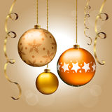 Christmas balls. Background with Christmas balls and ribbons Stock Photography