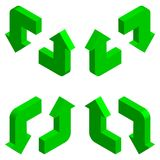 Arrows 3D. Isometric. Green arrows set 3D. Isometric royalty free illustration