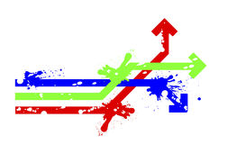 Arrows. Different colored arrows with splash of paint Royalty Free Stock Photography