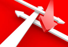 Arrows in different directions. 3d illustration of red and white arrows pointing in different directions royalty free illustration