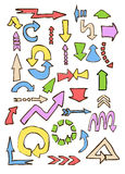 Arrows different shape hand draw in colors on white Royalty Free Stock Photo