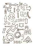 Arrows different shape hand draw Royalty Free Stock Photography