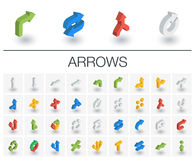 Arrows and direction isometric icons. 3d vector. Isometric flat icon set. 3d vector colorful illustration with arrows, direction and move flat symbols. Turn left vector illustration