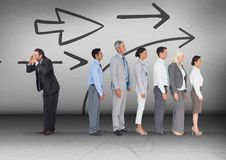 Free Arrows Direction With Businessman Calling In Opposite Direction Of Group Stock Images - 98542094