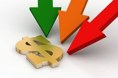 Arrows with dollar sign Royalty Free Stock Photo