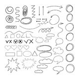 Arrows Doodle cloud speech and other shapes of vector set image Stock Photography