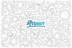 Arrows doodle set with blue lettering stock illustration