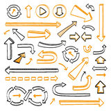 Arrows doodle set. Hand drawn sketch icons in black and orange colors. Vector illustration. Isolated on white background Stock Photo