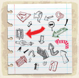 Arrows doodle set  on paper note, vector illustration Stock Photography