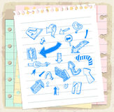 Arrows doodle set  on paper note, vector illustration Royalty Free Stock Photography