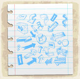 Arrows doodle set  paper note, vector illustration Royalty Free Stock Images