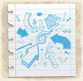 Arrows doodle set  paper note, vector illustration Stock Photography