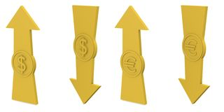 Arrows with euro and dollar. Arrows with euro sign and dollar sign Royalty Free Stock Photo