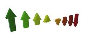 Arrows falls down. Graph derivative of the arrows down vector illustration