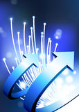 Arrows on fiber optic background Royalty Free Stock Image