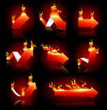 Arrows on Fire. Vector illustration of red arrows on fire. EPS 10 with transparency. Background placed on separated layers Royalty Free Stock Photo