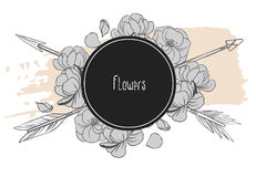 Arrows and flowers crossed on black background. Vector illustration. Vector template for your design Royalty Free Stock Images