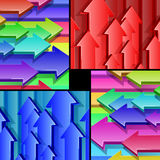 Arrows Flying Multicolor 3D Background Set Stock Photo