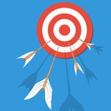 Arrows flying at the target. Vector illustration Stock Photography