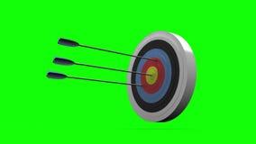 Arrows flying towards dart board and hitting target