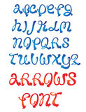 Arrows font. Vector font based on arrow and ribbon shape vector illustration